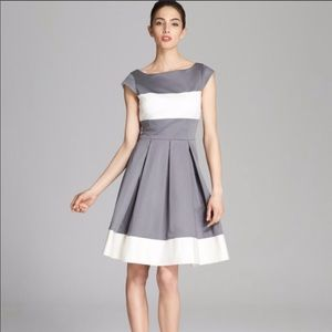Kate Spade grey and White Pleated Dress